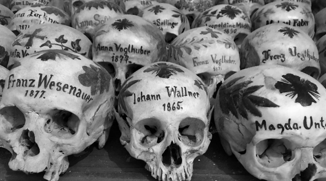 Painted skulls at Hallstatt's Bone House