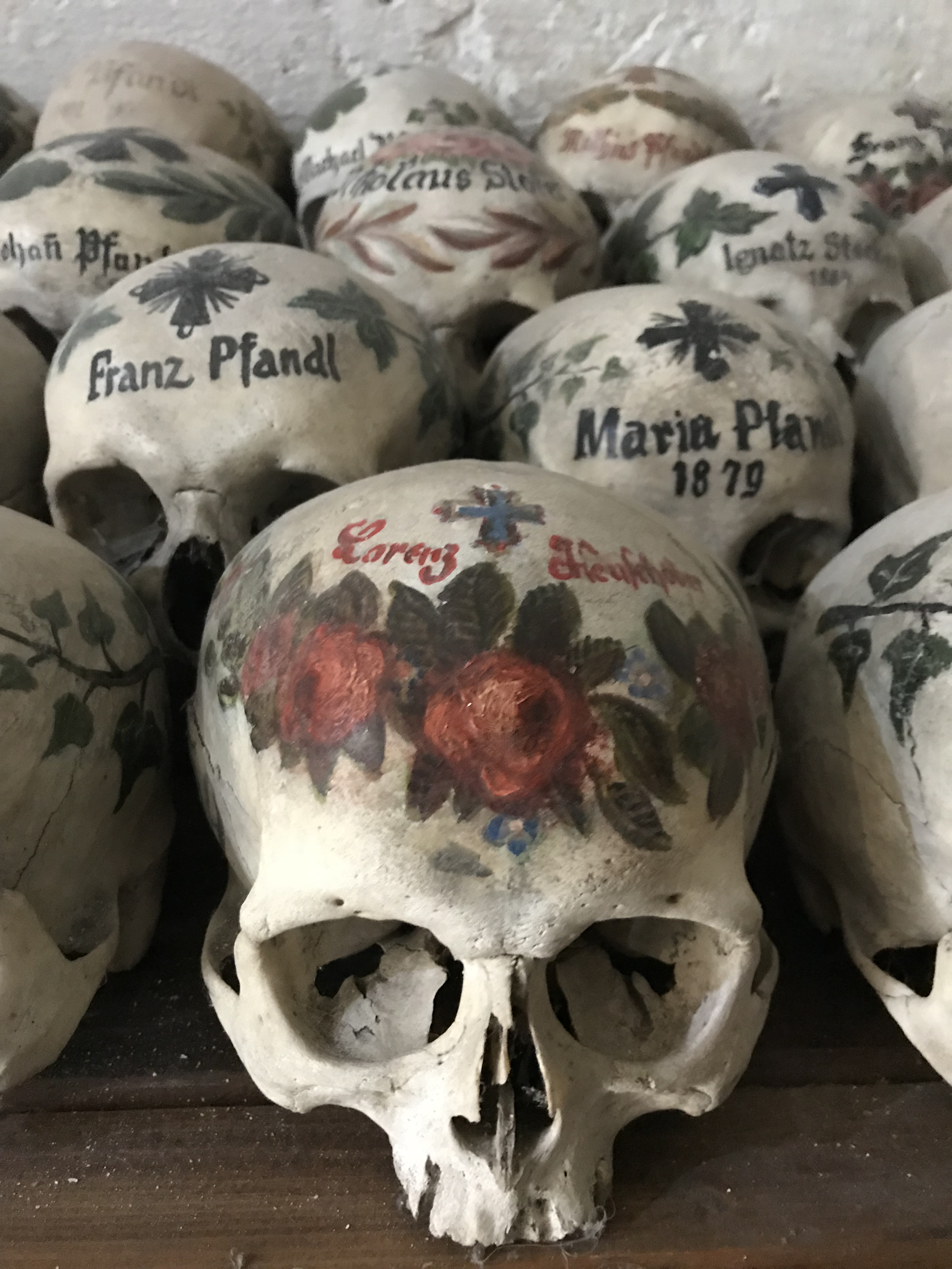 Human Skulls at The 'Bone House' at St Michael's Chapel in Hallstatt