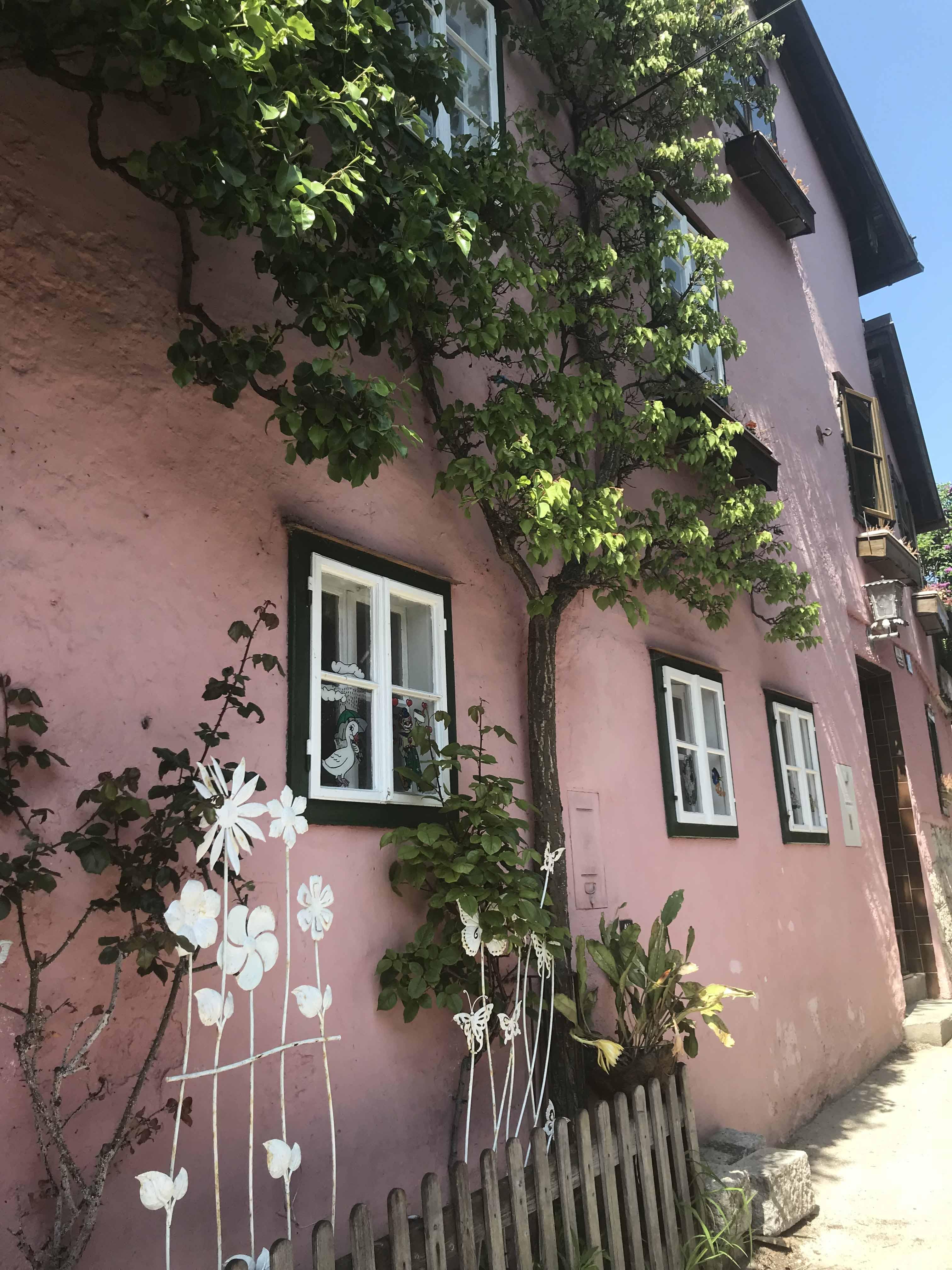 Pink House in Hallstatt Austria
