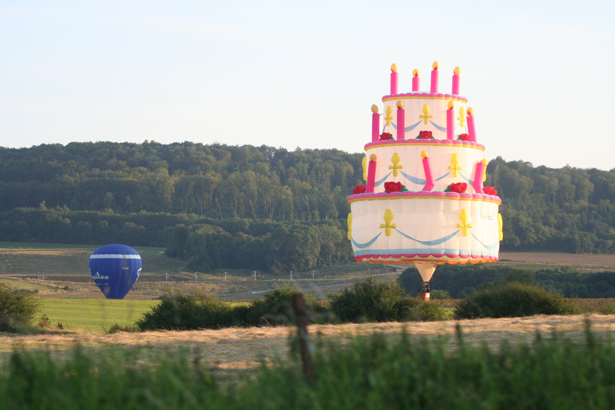 Birthday Cake Hot Air Balloon. Image credit Bristol International Balloon Fiesta
